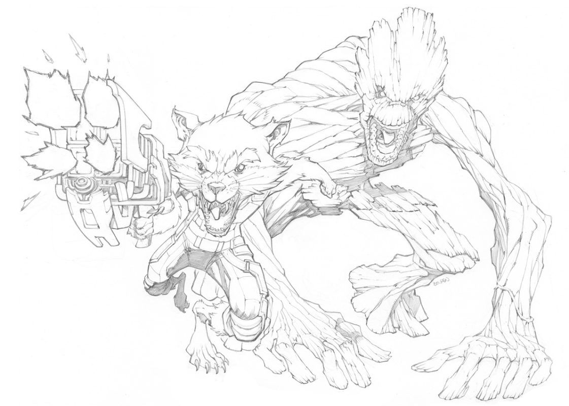 Rocket And Groot In Abraham Madampil S Mike Bowden Comic Art