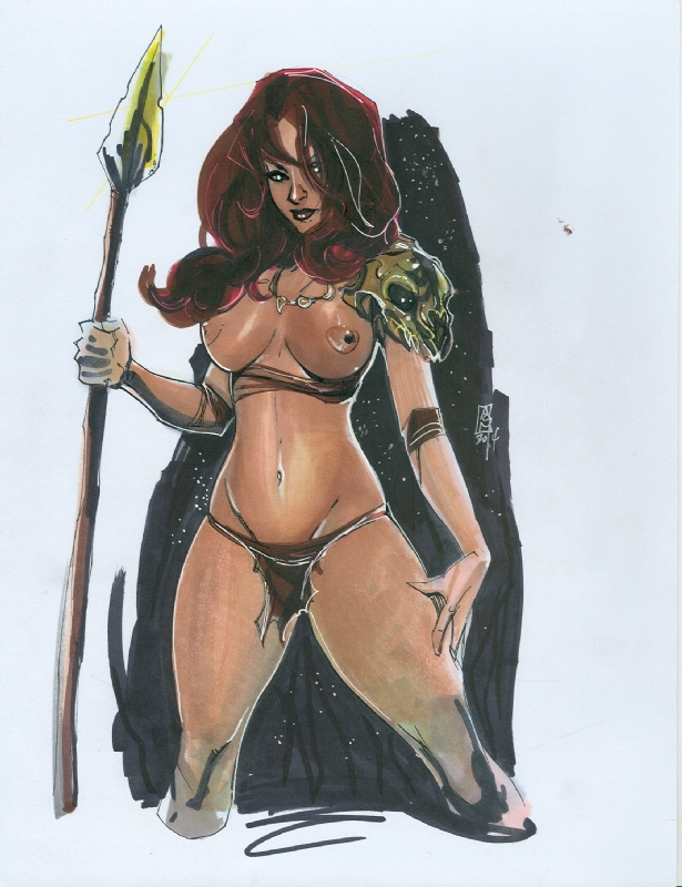 nude women with spear