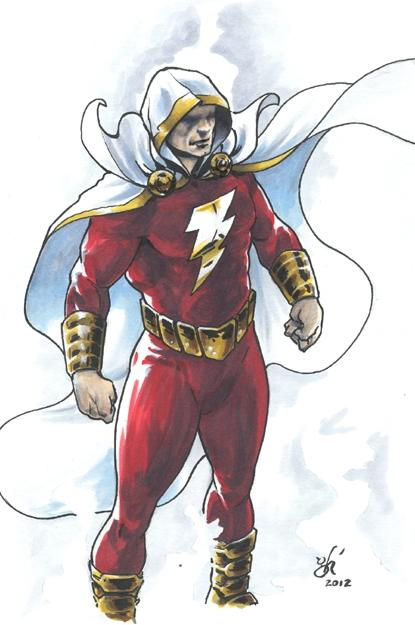 Captain Marvel Shazam New 52 Style By Gabriel Hernandez DCC 2012 Comic Art