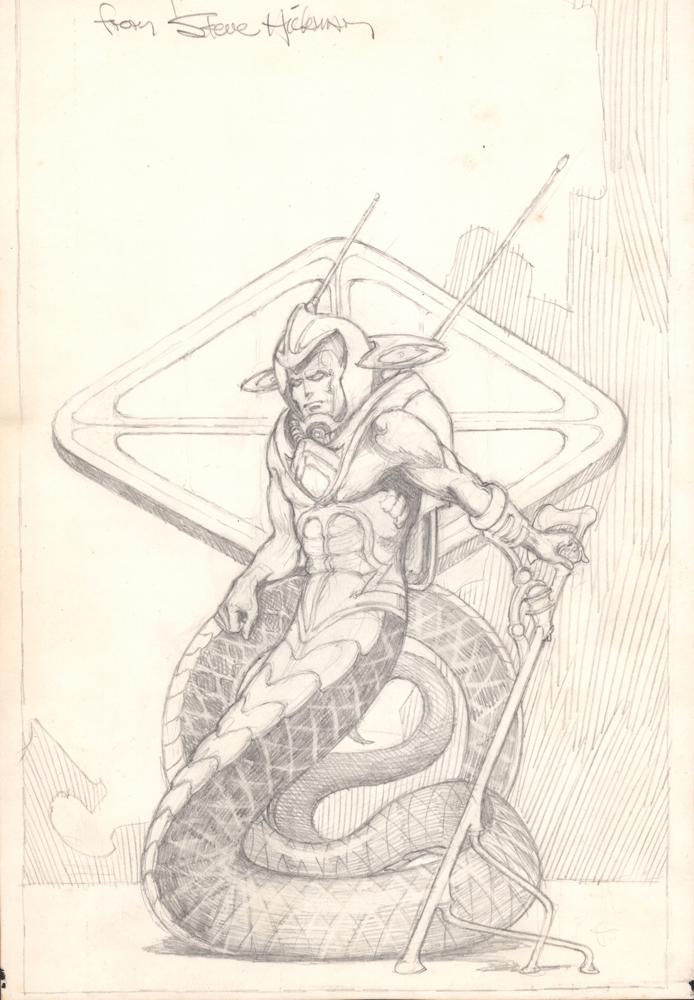 Steve Hickman -- commission? prelim? Sci Fi Snake Alien, in