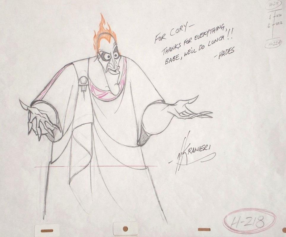 Disney Hercules Original Production Drawing Of Hades In Avi
