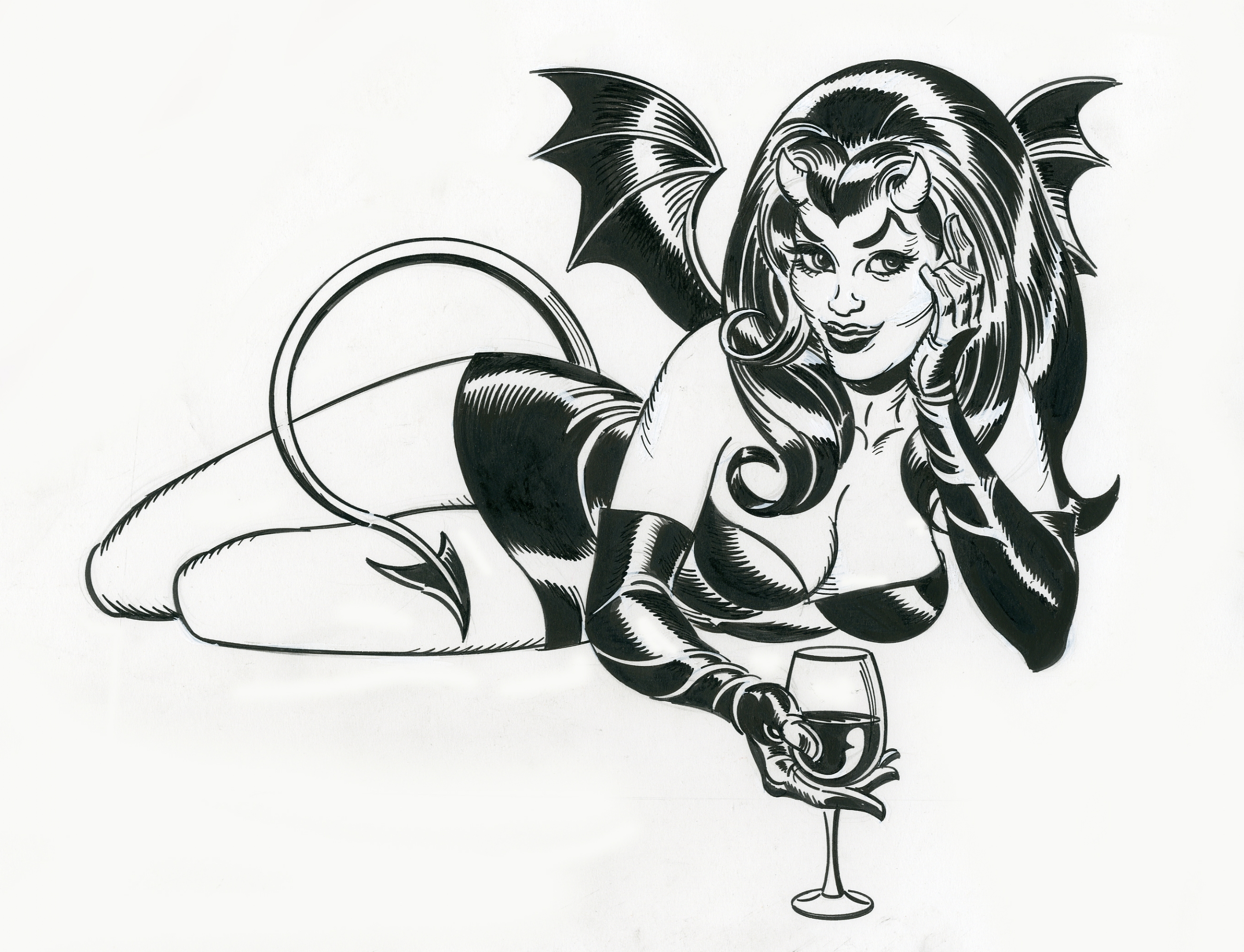 Sexy Devil Woman Pin-Up Artwork, In Mitchell Oconnells -5261