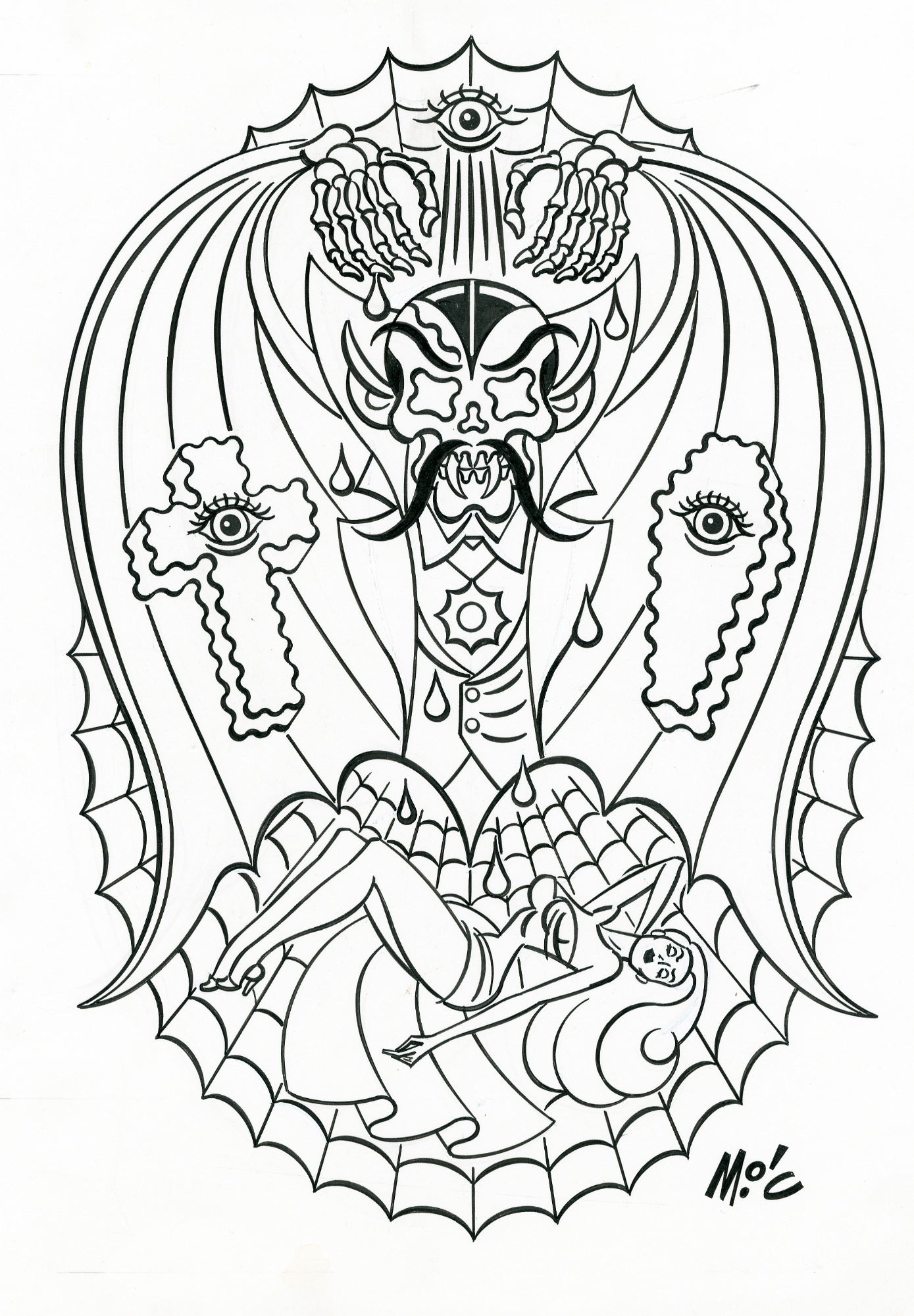 Vampire and Pin-Up Tattoo Design Art!, in Mitchell O