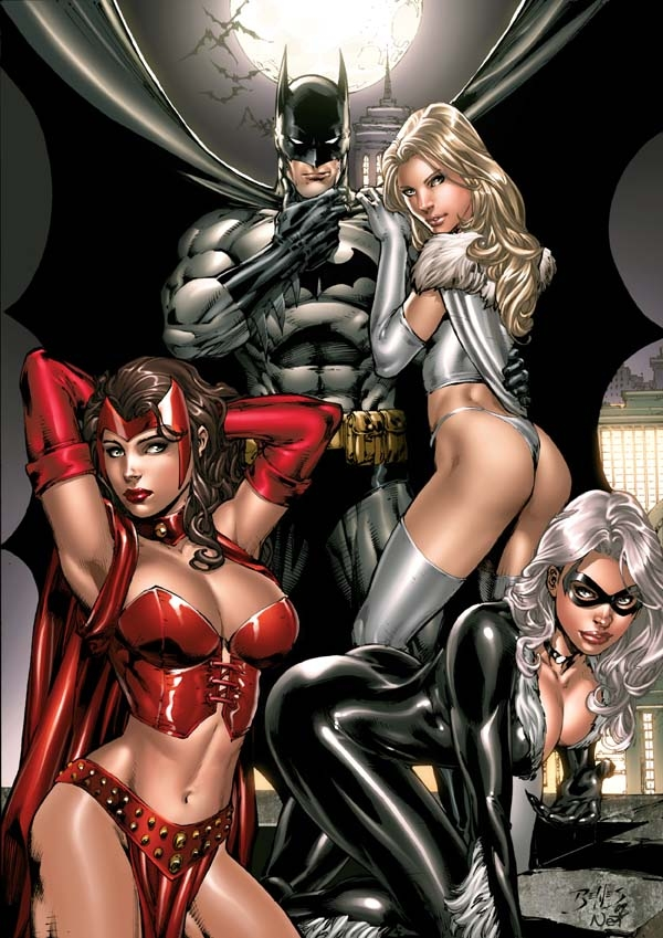 Batman White Queen Scarlet Witch And Black Cat By Ed Benes Colors