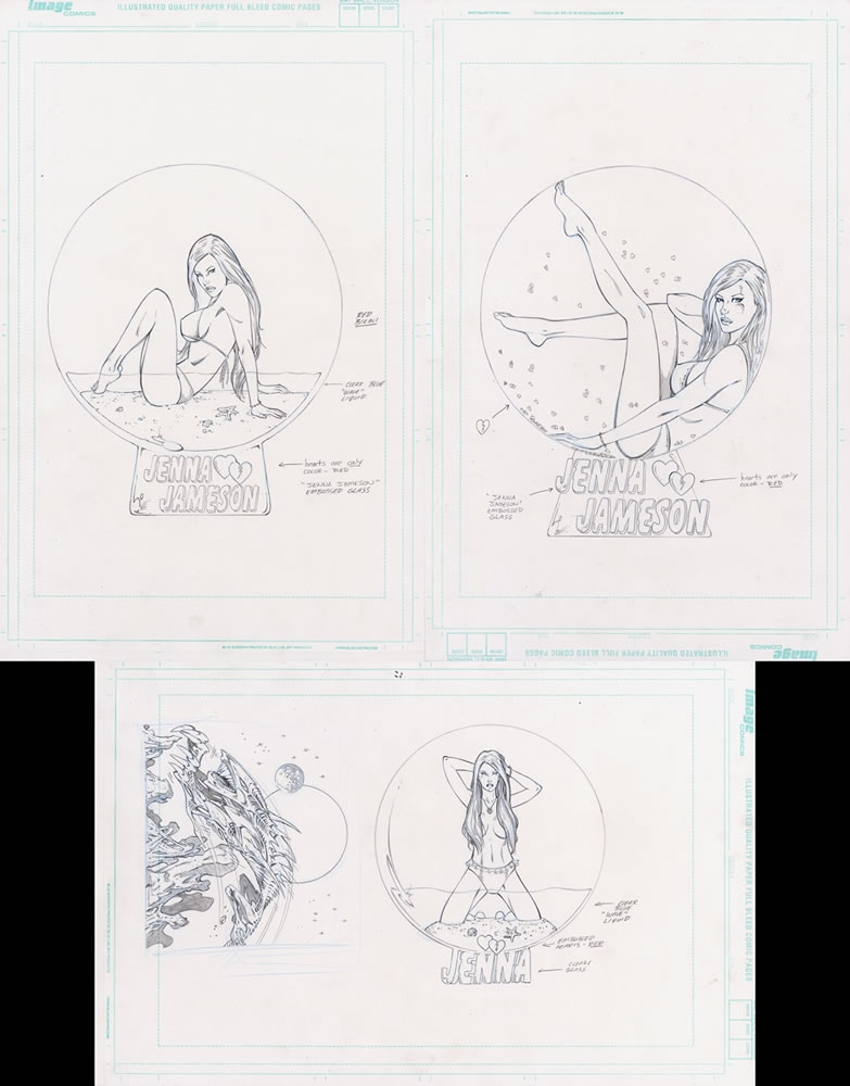 randy queen original art jenna jameson 3 x snow globe designs for