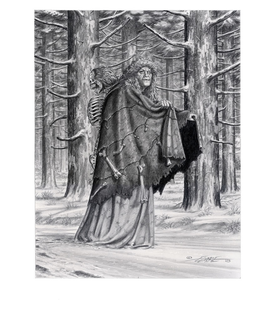 Larry elmore original art old witch pencil drawing sold in
