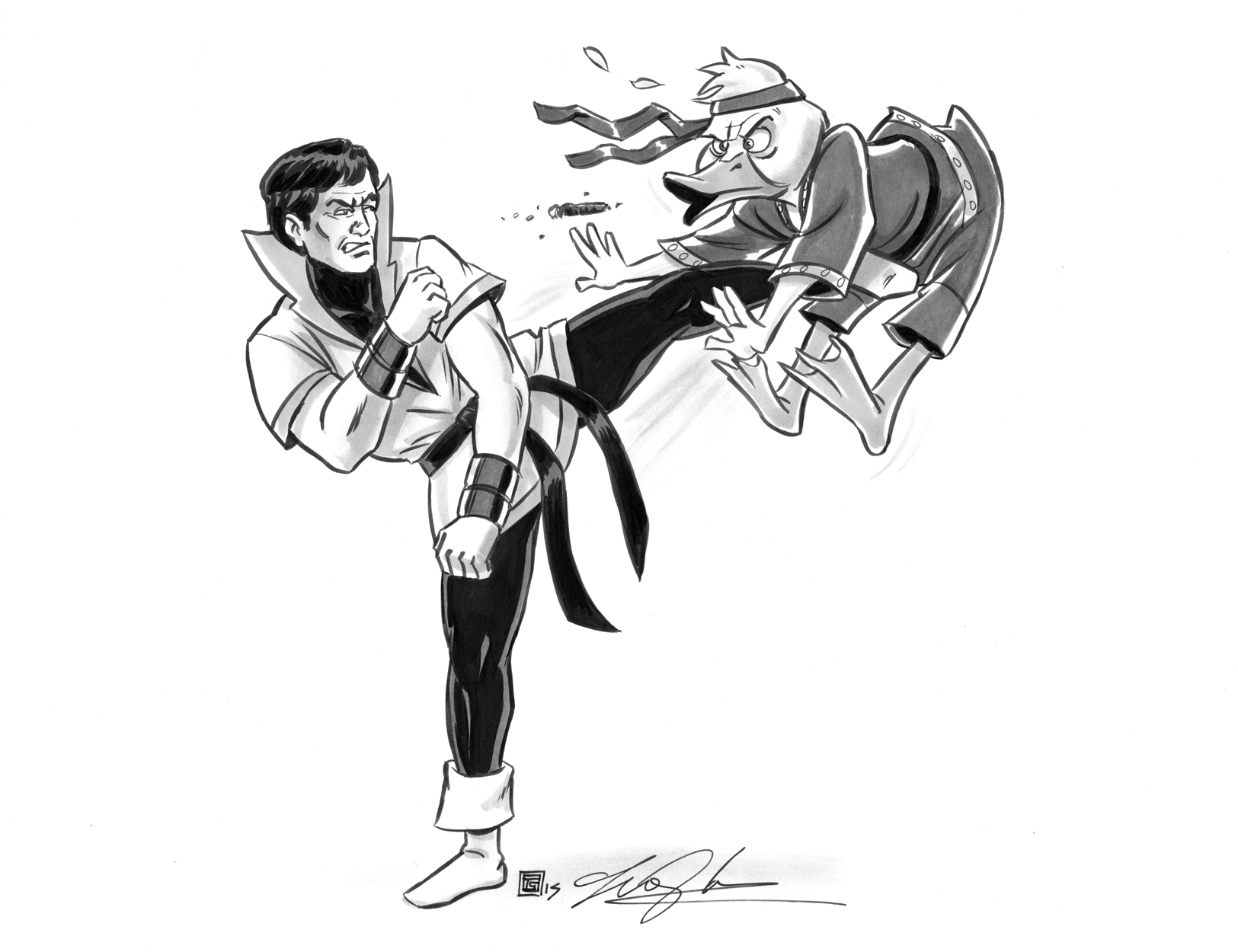 Karate Kid vs  Howard The Duck by Tim Shinn, in Travis Ellisor's