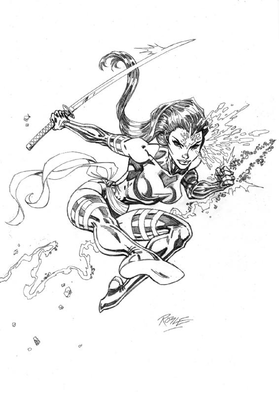 Psylocke X Men Sketch Original Pencils In John Royles Spiderman X