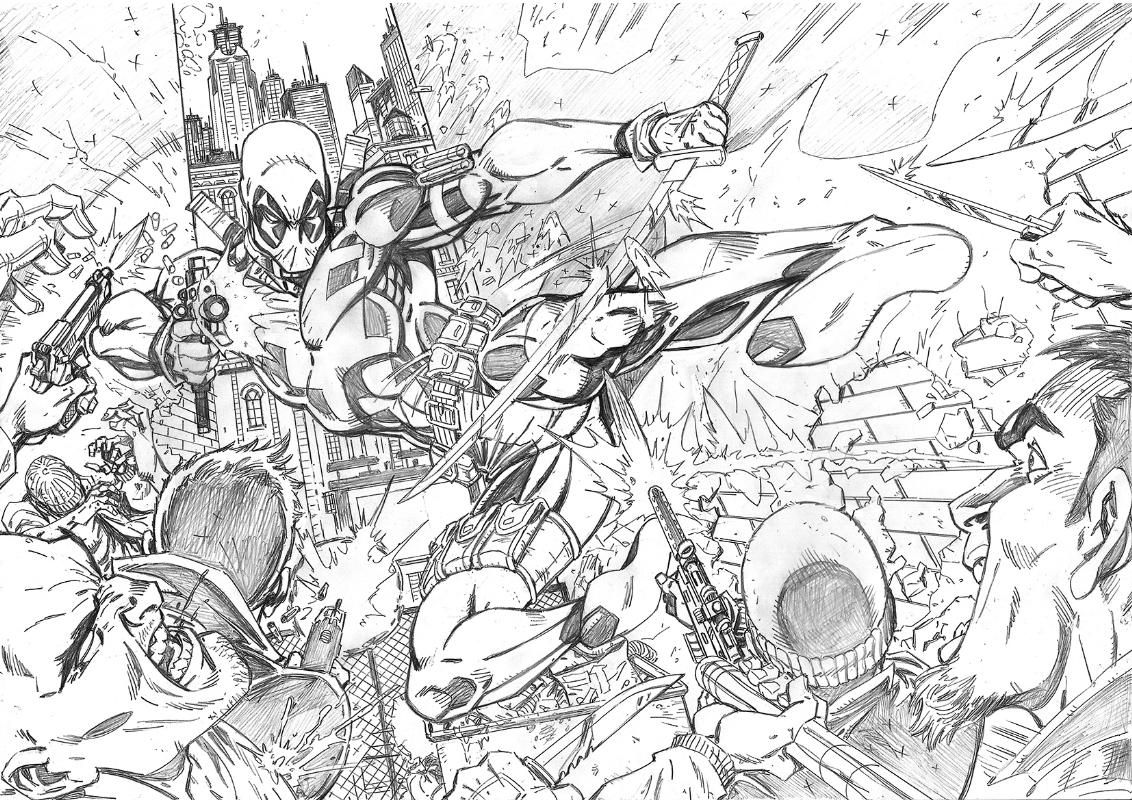 Deadpool original sketch pencils in john royles spiderman x men