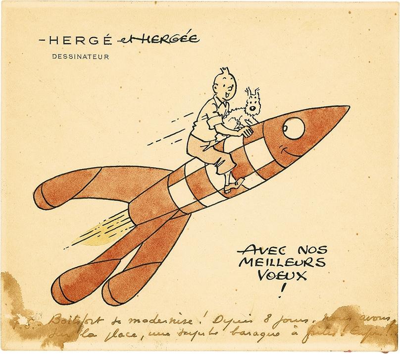 Tintin Milou Et La Fusée Avec Nos Meilleurs Voeux In