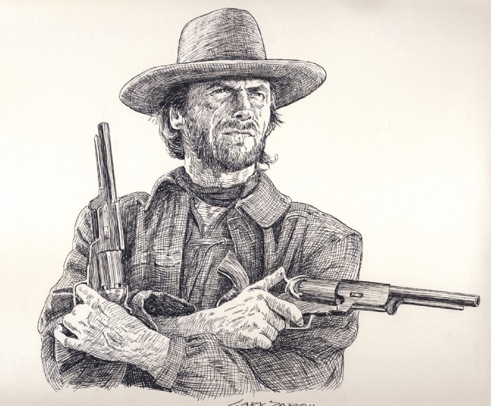 Original Drawing by Gary Zaboly CLINT EASTWOOD AS THE OUTLAW
