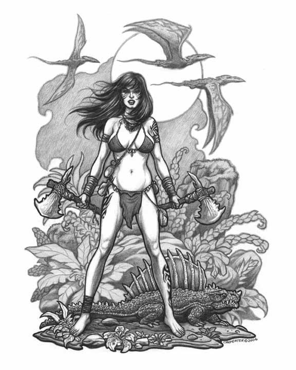 Nude cavegirl pin-ups