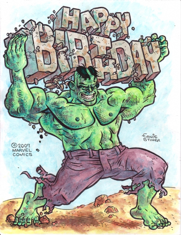 Hulk Birthday In Color In E J Stiners My Miscellaneous Art Comic