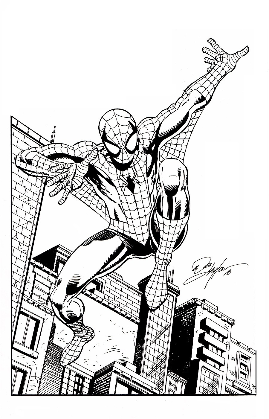 Amazing spider man 11 x 17 drawing comic art