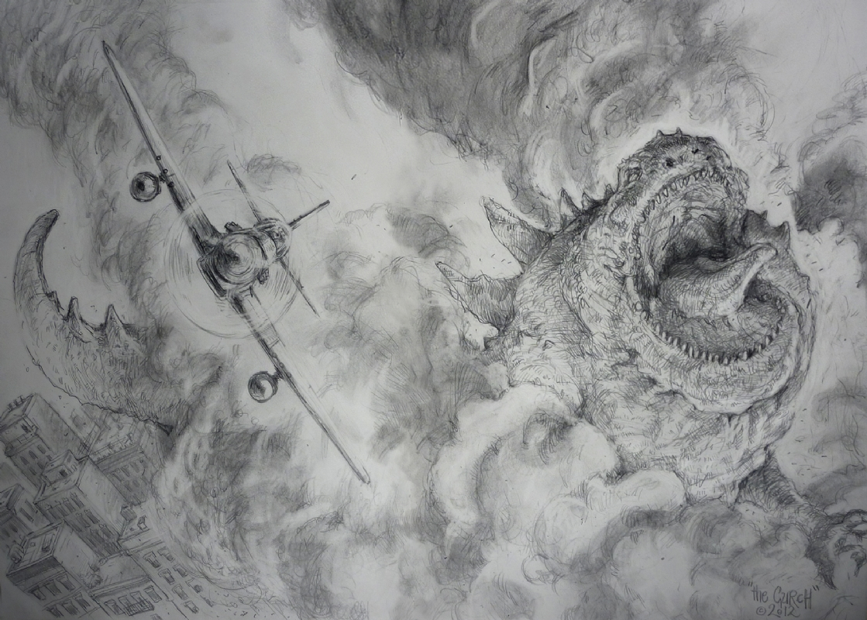 Godzilla 2012 in pencil necked geeks odd bits of artwork