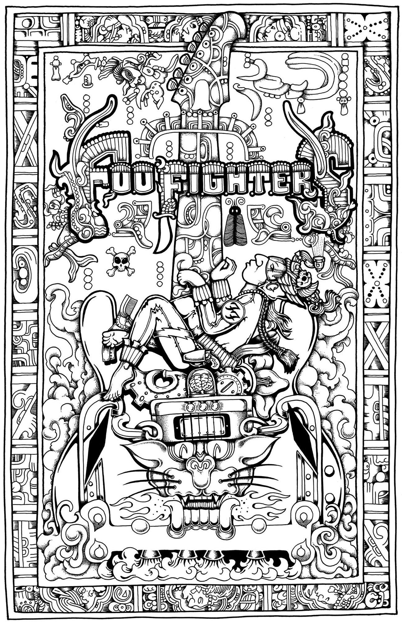 Foo Fighters Bossier City, LA 4/22/18 poster art, in Brian