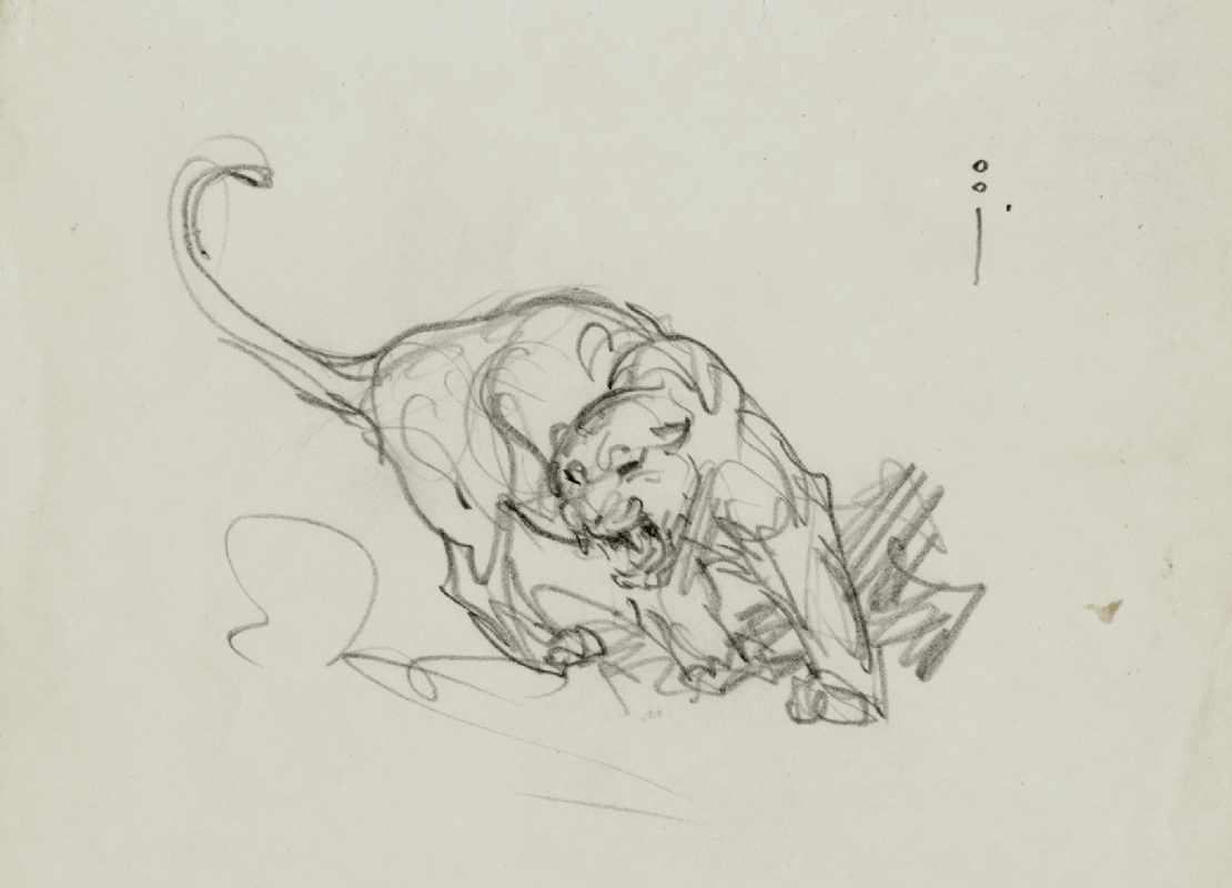 Frank frazetta turning lion pencil sketch comic art