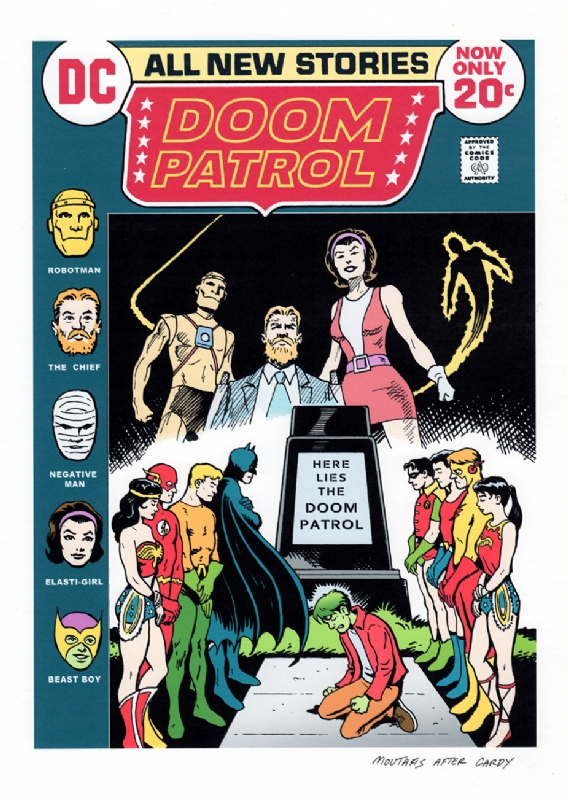 Justice League #100 Doom Patrol recreation/remix, in Greg Moutafis's