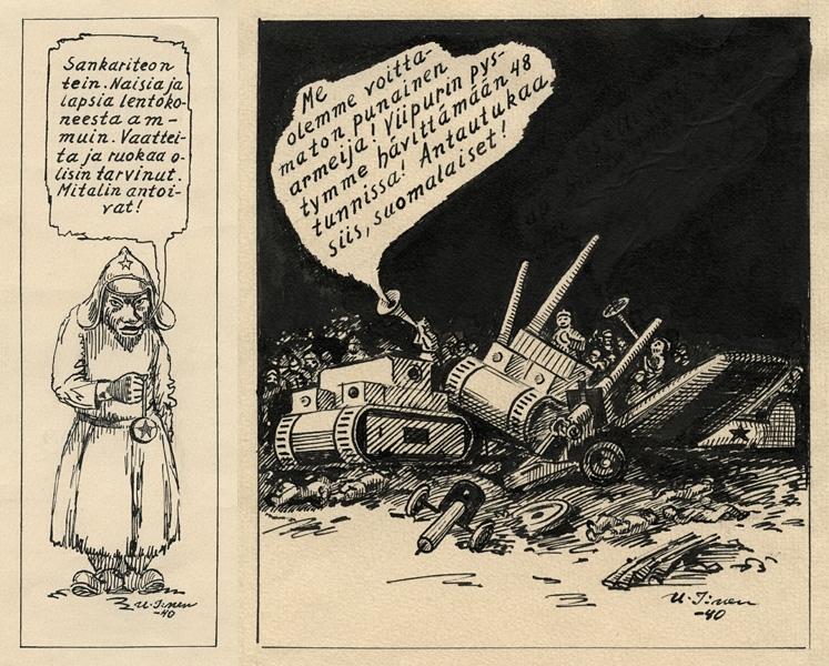 U I:nen, Two WWII cartoons, 1940, in Jyrki Vainio's Finnish