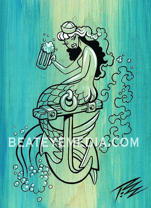 The Pizz Original Art Mermaid Pin Up Tattoo Hot Rod