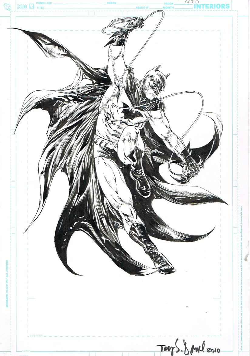 Batman black and white comic art