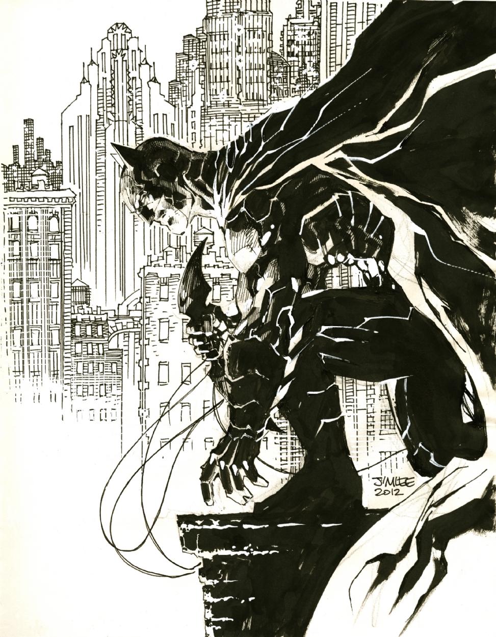 jim lee batman sketch comic art