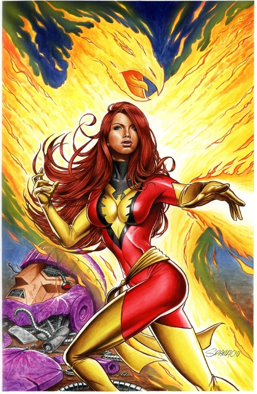 Jean Grey 11x17 Painting Of Dark Phoenix X Men Mark Sparacio In