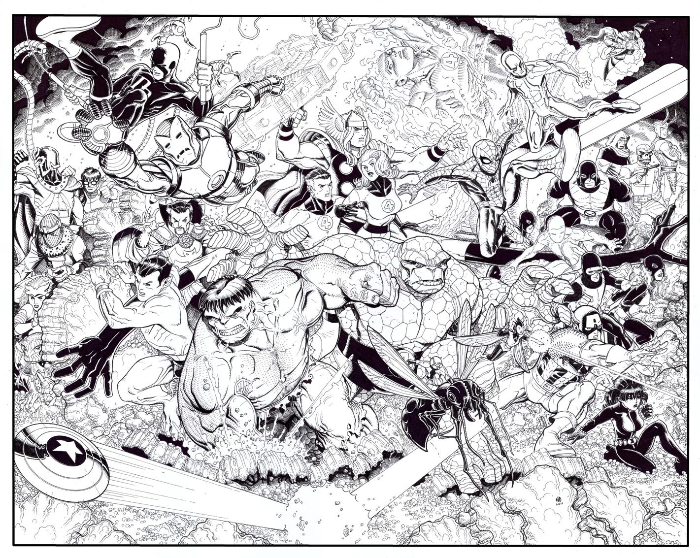 Nick bradshaw -marvel universe poster art spider man avengers x men ff comic
