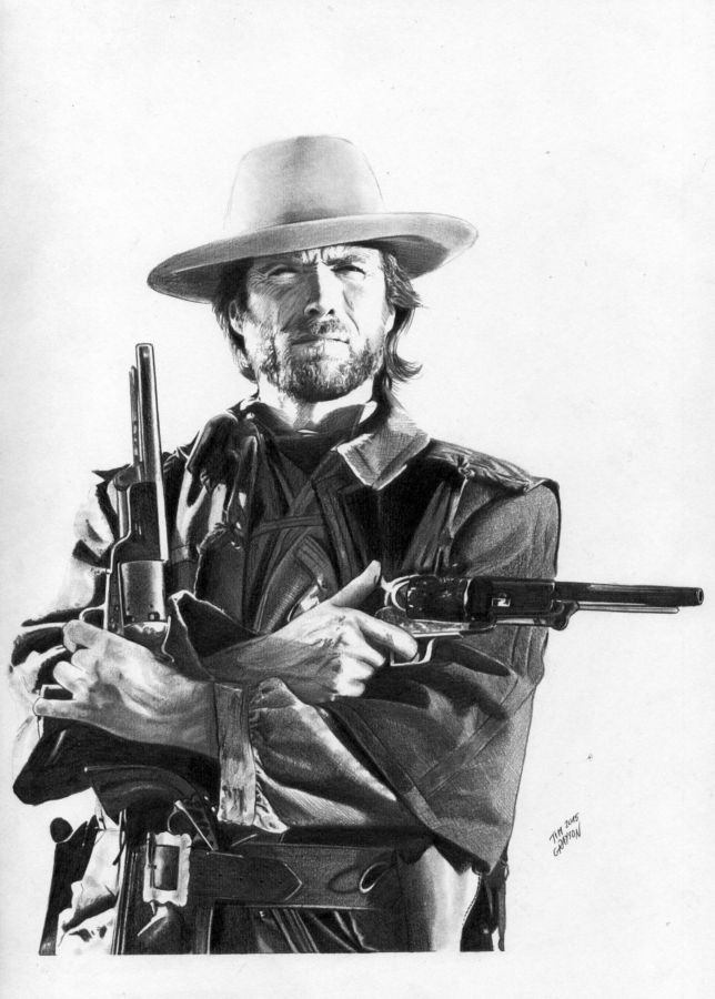 Tim Grayson pencil drawing of Clint Eastwood as The Outlaw Josey